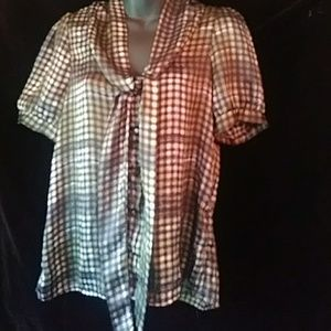 Lola checked/plaid short sleeved blouse - sz S